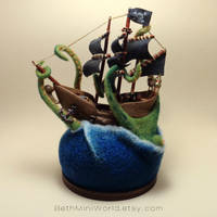 Giant Octopus Attacks Pirate Ship- Miniature Scene by BethMiniWorld