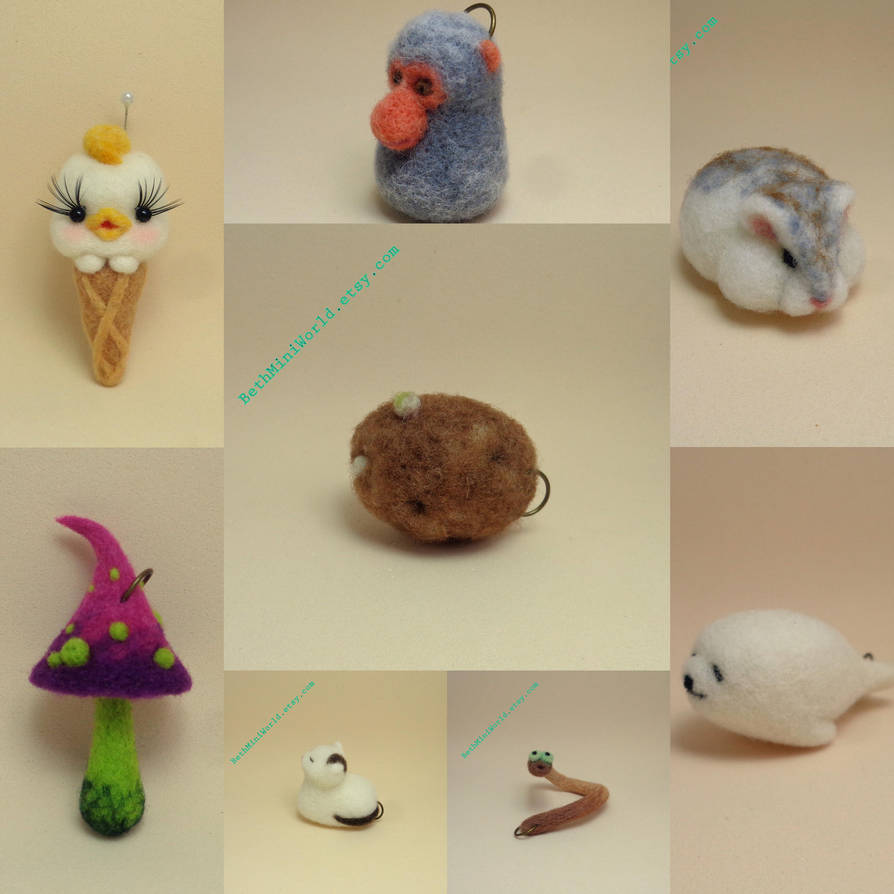 Needle felted Pendants- Charms by BethMiniWorld
