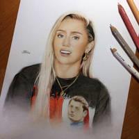 Miley Cyrus drawing art 2017 by hodarts
