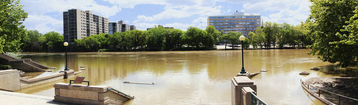 Riverwalk 3 Pic Pano - Red River Winnipeg by Joe-Lynn-Design