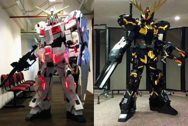 Gundam Unicorn and Banshee cosplay by Clivelee