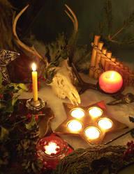 Yule Altar 2007-God side by EnchantedMasquerade
