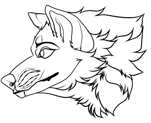 F2u Headshot lineart (Canine) by Lif0rneir0a