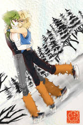 Isaac and Hyoga  Skating -COMMISSION- by Luna-Akari