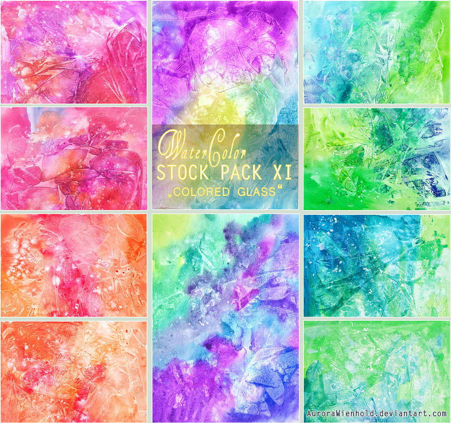 COLORED GLASS - WATERCOLOR STOCK PACK XI by RoryonaRainbow