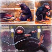 Shiny things - My Niffler watercolors by RoryonaRainbow