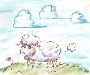 sheep and clouds by Momo-no-kuni