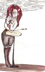 Smoking Girl by Momo-no-kuni