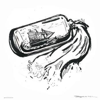 Inktober -Bottle by shahriyars-art
