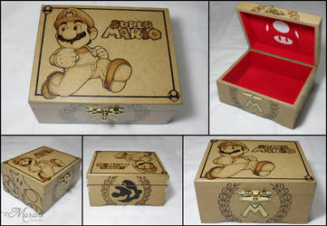 Wood Box: Mario 2 [Pyrography / Woodburning] by dcmorais