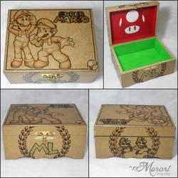 Wood Box: Mario Luigi [Pyrography / Woodburning] by dcmorais