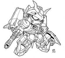 SD Chaos Gundam lineart by Mintyrobo