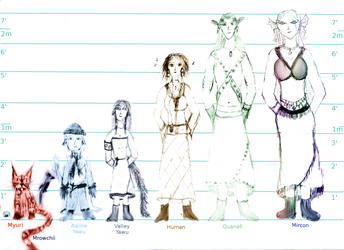 Size comparison of my fictional species by quanafi