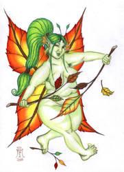 Autumn Striptease Faery by LimeGreenSquid