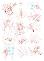 dragon ball fight scene sketches (with Blaze) by hg-project