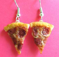 Pepperoni Pizza Earrings by LittleSweetDreams