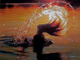 Splashing at Sundown by johnwickart