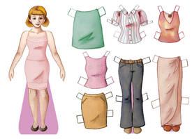 Paper doll -- pinks by julie-allen