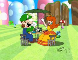 Luigi and Daisy Playing Super Smash Bros. Ultimate by ZacharyNoah92