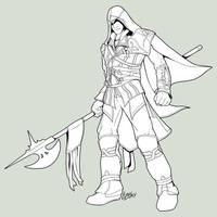 Ezio - Lineart by Lizkay