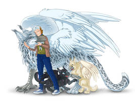 Gryphon Family - colored sketch commission by Lizkay