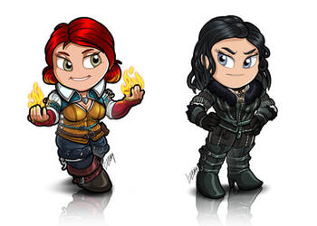 TinyWitcher - Triss + Yennefer by Lizkay