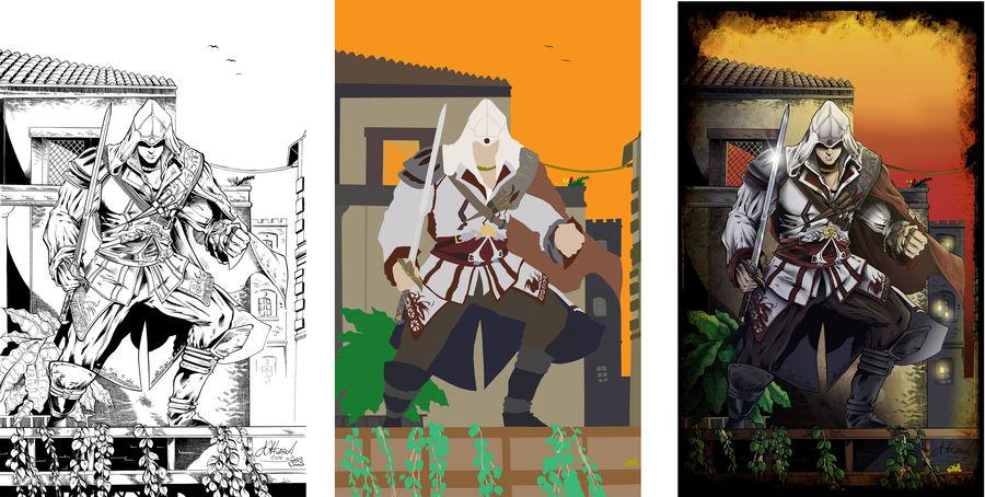 Ezio with background by Flat-Works