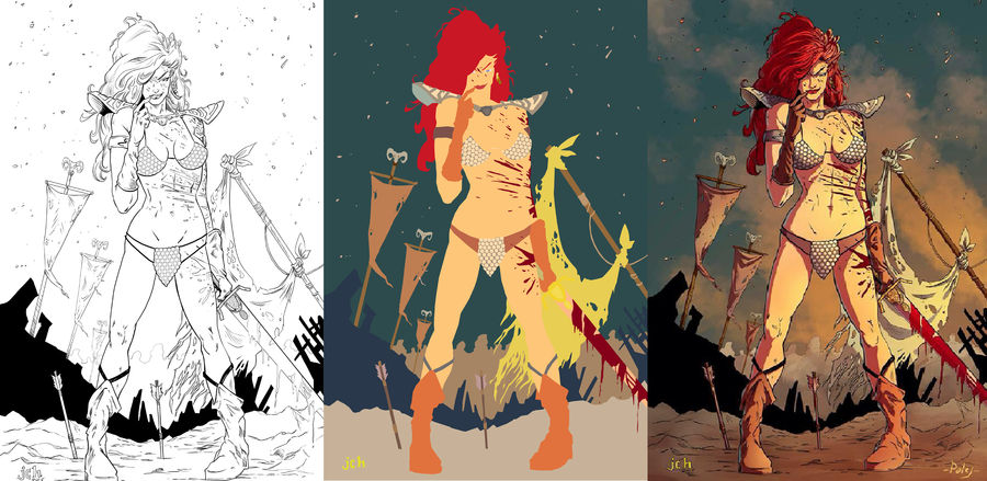 Red Sonja-inks by Flat-Works