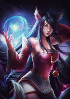Ahri (League of Legends).nsfw optional. by Axsens