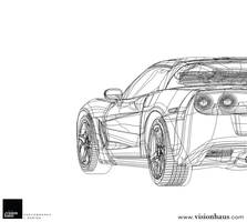 Red Chevrolet Corvette Outline by VisionHaus