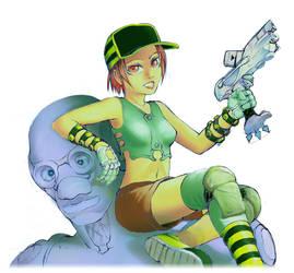 Girl on Big Robot by MickMurillo