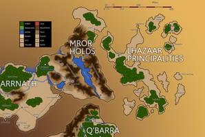 Eberras Mror Holds and Lhazaar Principalities by FilKearney