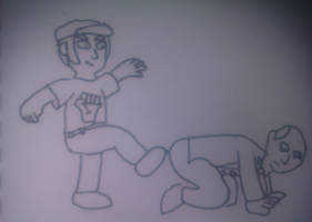 Jack kicking Iain Duncan Smith in the arse by SuperAshBro