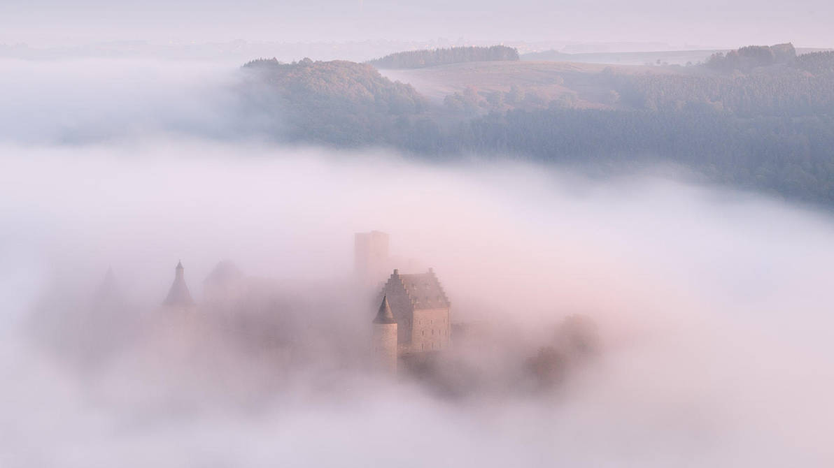 Foggy Bourscheid Castle by JohnyG