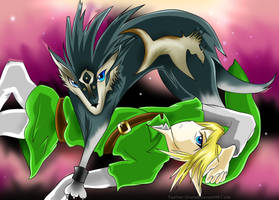 Link and Wolf Link by Feather-Storm