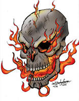 Flame Skull, Now in color by Baron-Nutsnboltz
