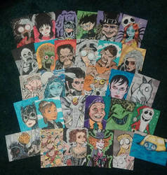 Tim Burton sketch card set by mzjoe