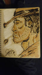 cowboy in sepia ink by mzjoe