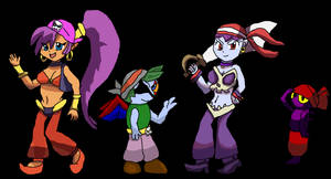 Anubis, Shantae, Risky Boots, and Tinkerbat by irodude