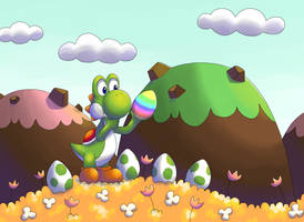 Yoshi and Easter Egg by PauliinaP