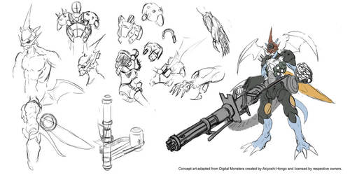 Digimon World Alpha - StrikePaildramon draft by Vinsuality
