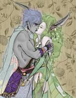 Rydia and Edge by christadaelia