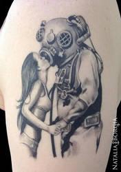 Deep sea diver tattoo by nataliaborgia