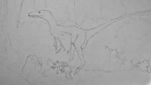 Dromaeosaurus with Alphadon prey - in progress by Oddity-1991