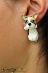 French Bulldog polymer clay earrings by seandreea