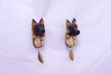 Polymer clay German Shepherd earrings by seandreea