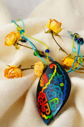 Polymer clay mosaic inlay pendant by seandreea