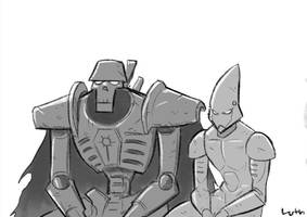 Necron and Eldar reminiscing by Lutherniel
