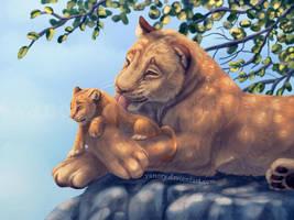 Simba and Sarabi by Vawie-Art