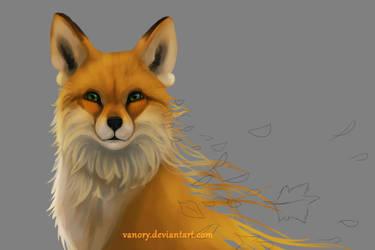 Autumn Fox_work in progress by Vawie-Art